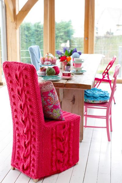 вязанный чехол для стульев, декор для дома, chair cover