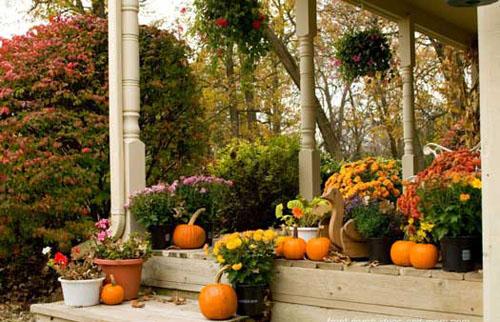 крашение двора, крыльца тыквами, день благодарения